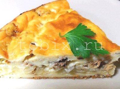 Заливной пирог с рыбными консервами рецепт с фото